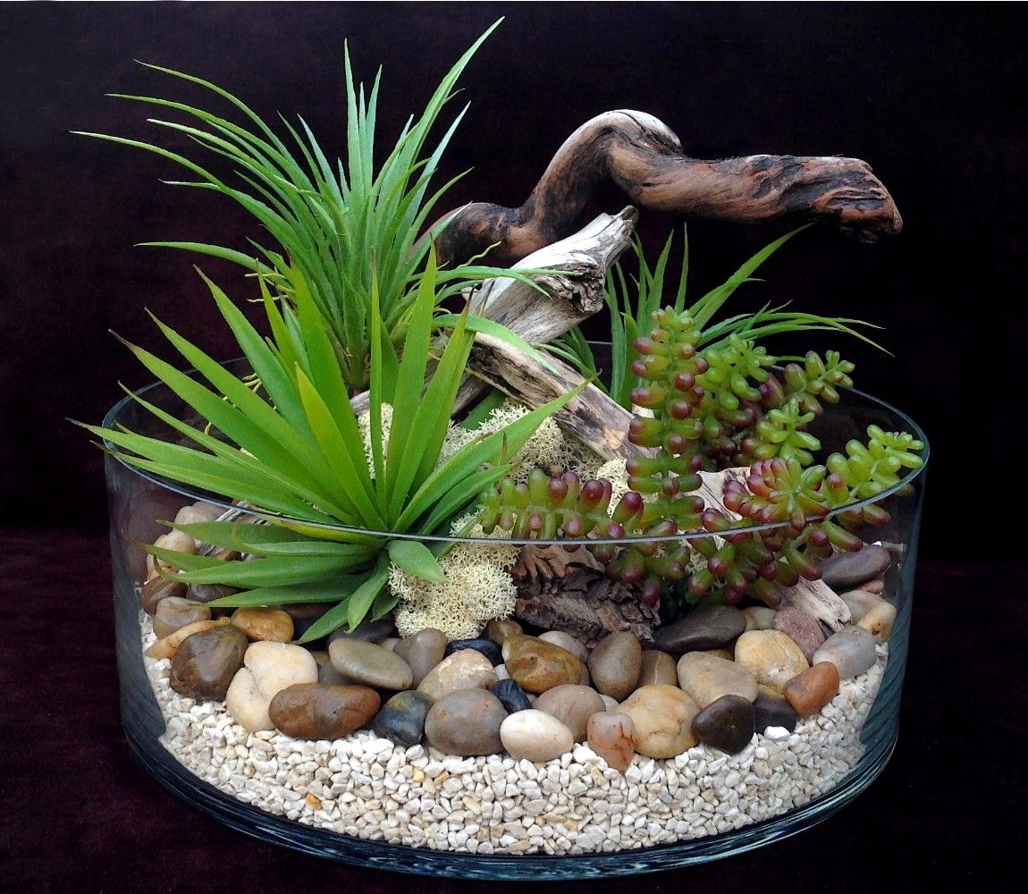 Terrarium plantes grasses artificielles h15 d28 dario for Plantes de bordures fleuries
