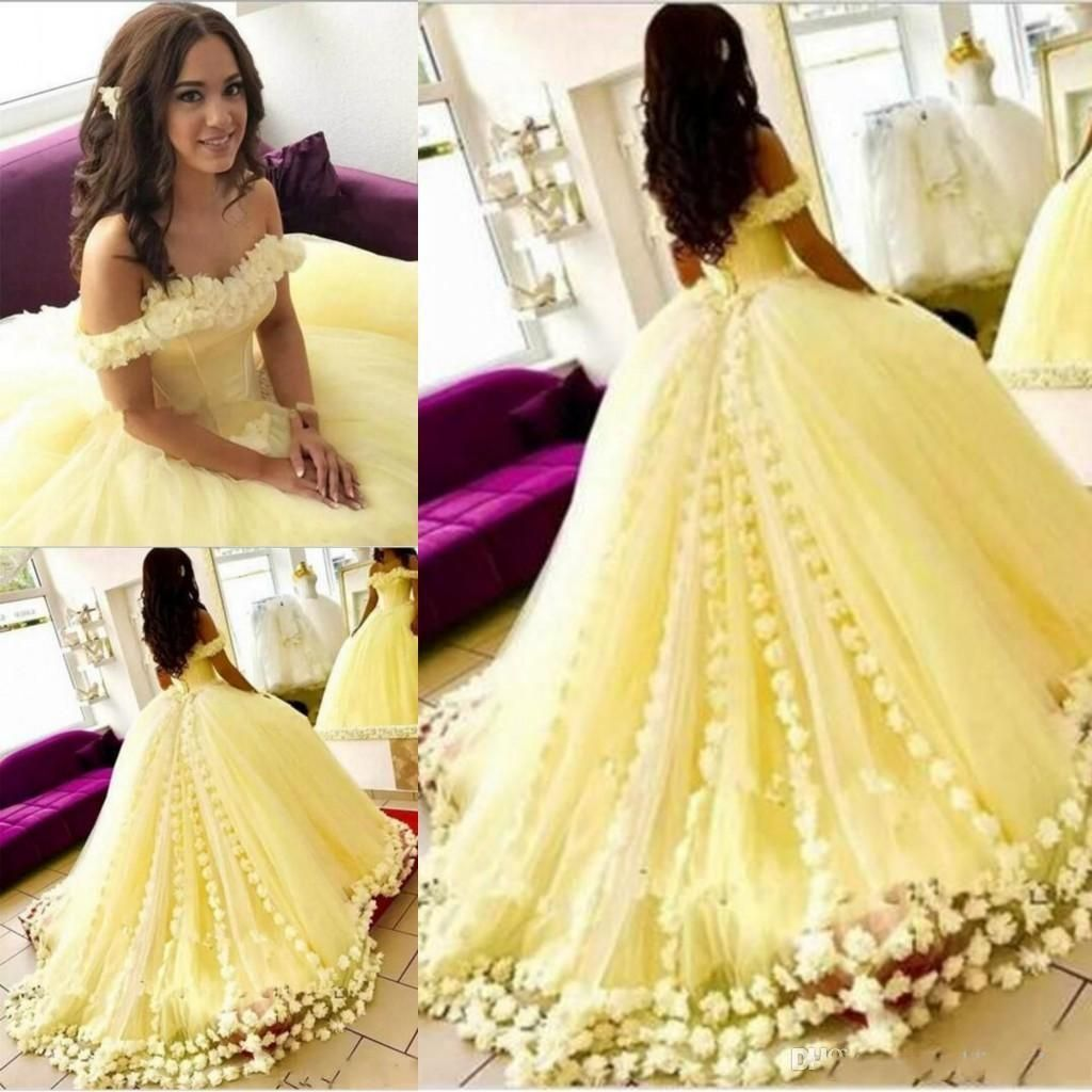 8432ce1d89b Luxurious Yellow Ball Gown Quinceanera Dresses Off The Shoulder 3d Floral  Appliques New Arrival Sweet 16 Dress Cheap Prom Dresses Purple And White ...
