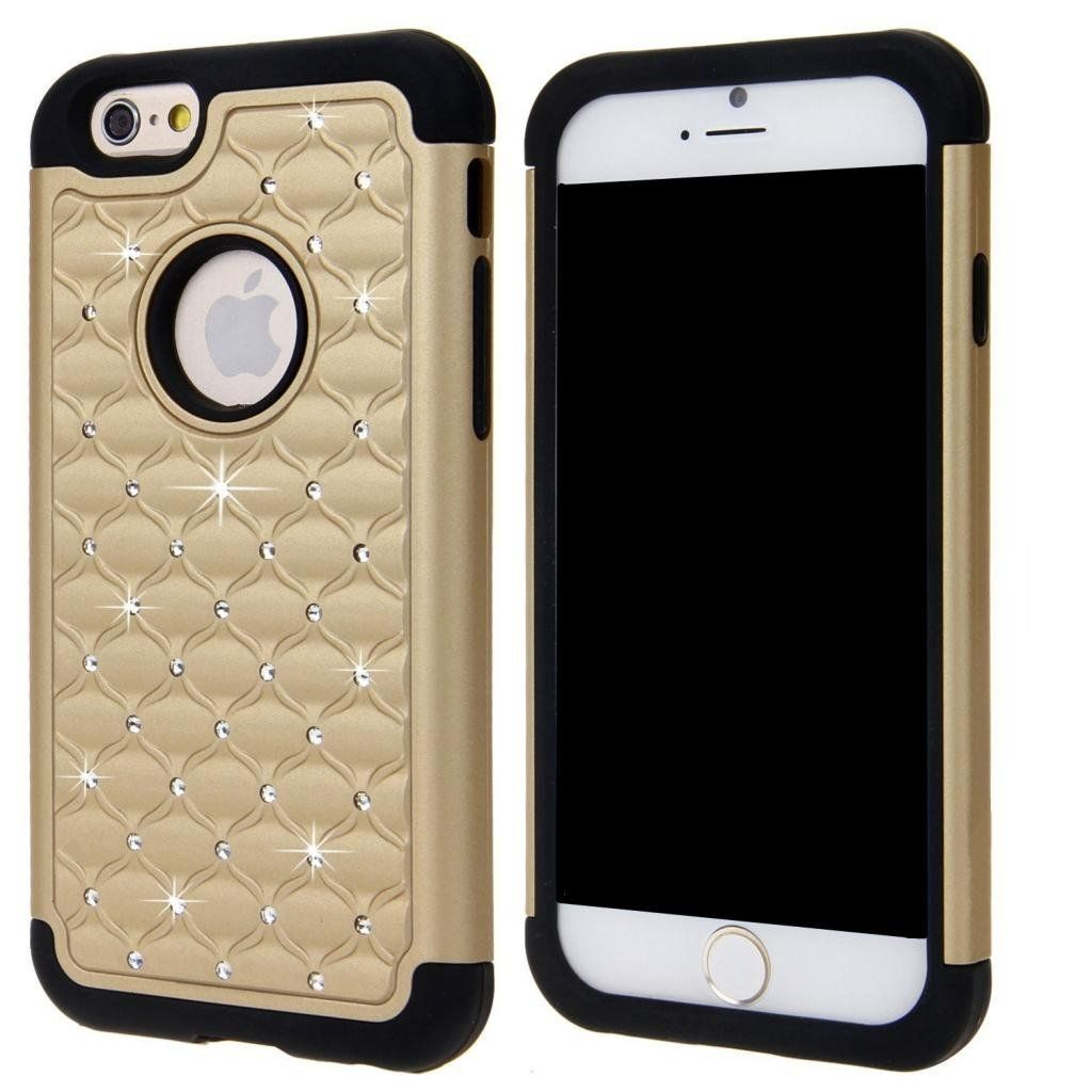 """iPhone 6 Case KINGCOOL(TM) Deluxe Bling Rhinestone Hybrid Armor Case Cover for Apple iPhone 6 4.7 Inch(Gold+Black) Designed specially for Apple iPhone 6 4.7"""" 2014 Release Fashionable bling design makes your phone stand out! Premium coating for a soft feeling texture Provides great protection with easy installation Access to all controls, buttons and camera holes"""