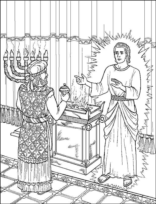 de engel verschijnt aan zacharias kleurplaten