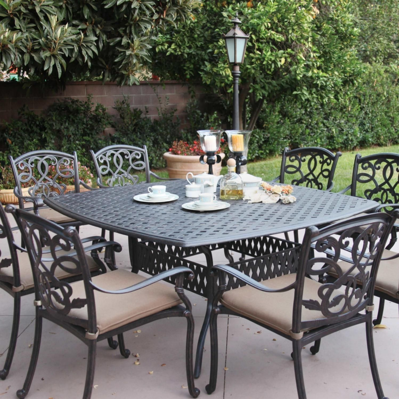 Darlee Santa Monica Piece Cast Aluminum Patio Dining Set With - Cast aluminum picnic table