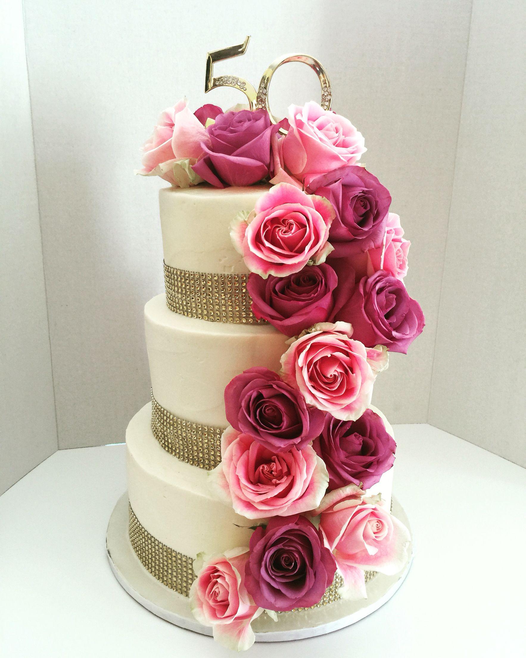 Th anniversary cake all buttercream with fresh roses yayaus