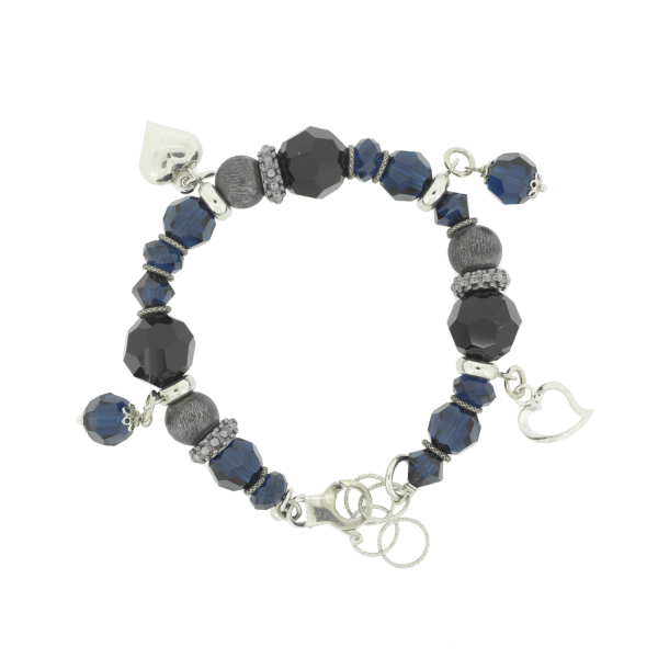 ESMERALDA buntes Silber Bettelarmband **SALE** 85,-Euro statt 135,-Euro  #princesslioness #silberschmuck #silberarmband #bettelarmband #schwarzesteine #blauesteine