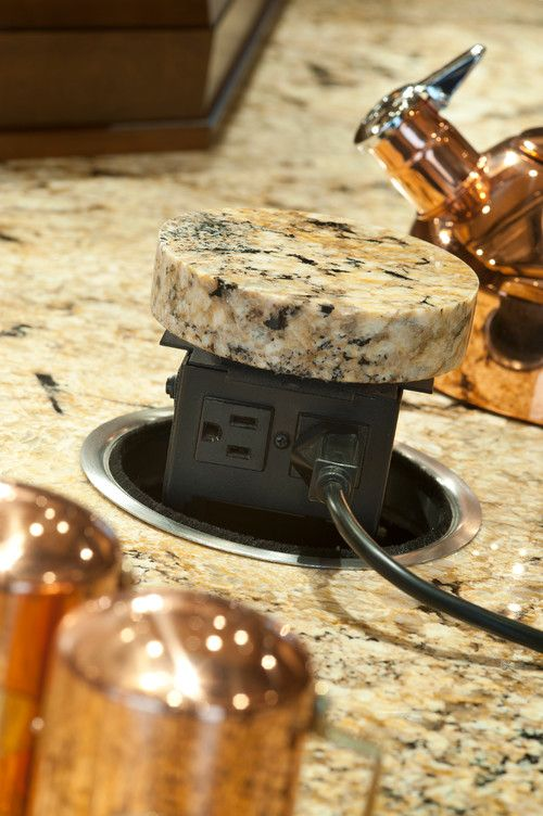 pop up electrical outlet in granite | new house diy | pinterest
