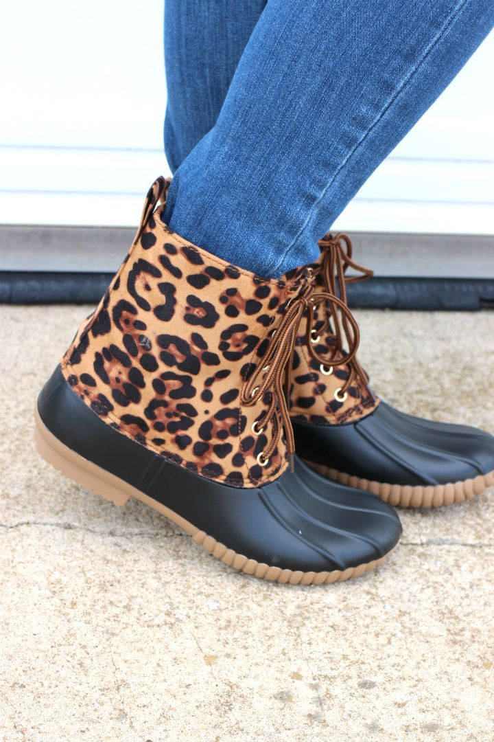 One Faith Boutique - Keep It Basic Duck Boots ~ Leopard ~ Sizes 6-10