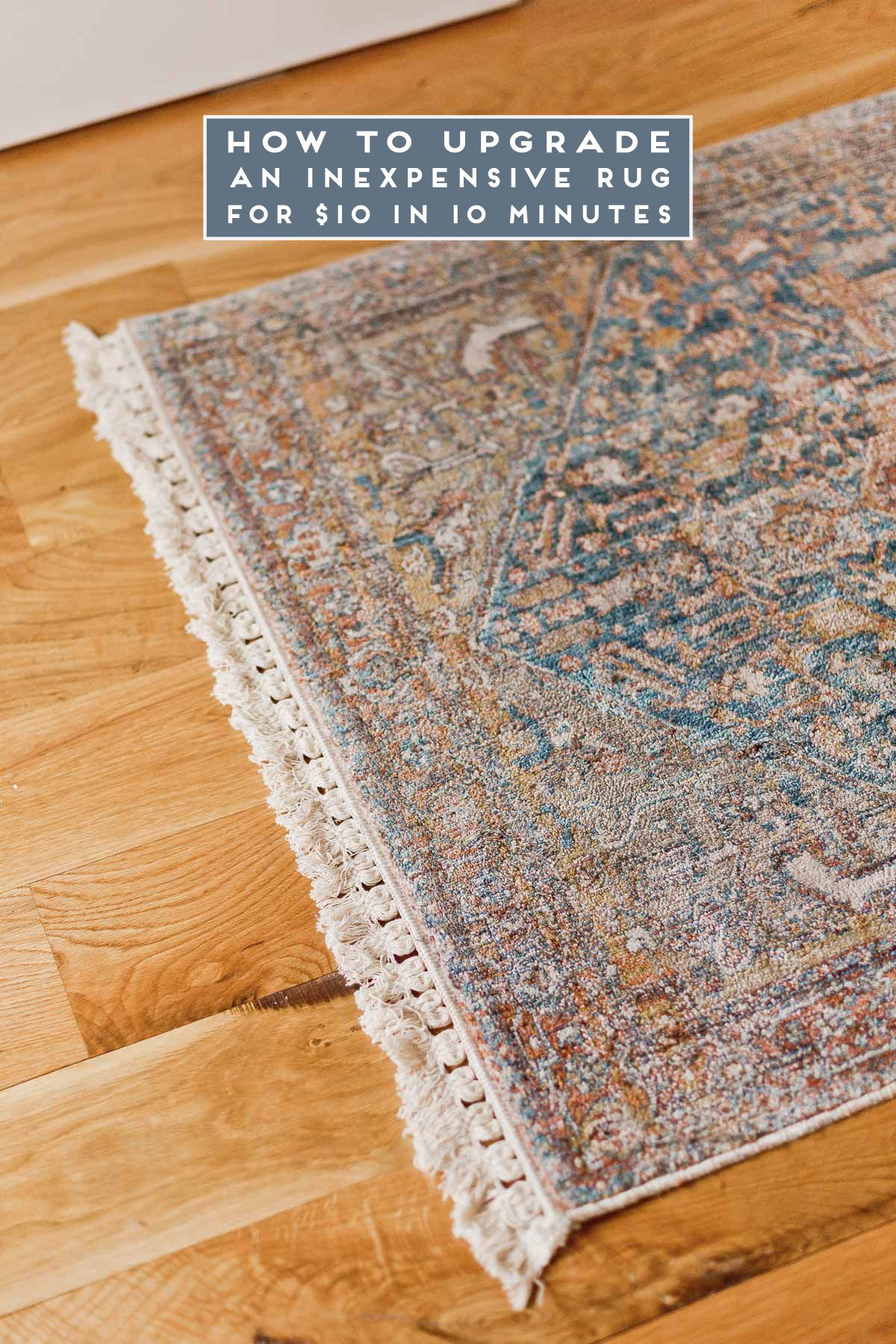 Diy Rug Hack How To Upgrade An Inexpensive Rug For 10 In 10 Minutes Inexpensive Rugs Rug Hacks Diy Rug