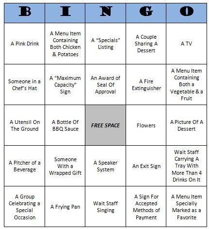 restaurant bingo free printable game kid crafts pinterest
