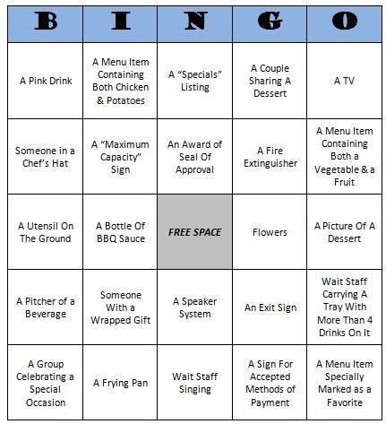 Restaurant Bingo (Free Printable Game Fun activities, Free - free printable restaurant menus