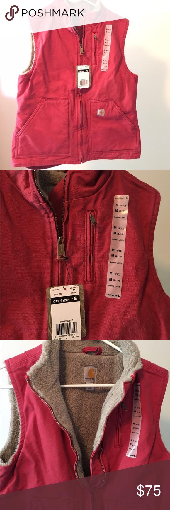 Women's M Carhartt Vest - NWT NWT- never worn SANDSTONE MOCK-NECK VEST/SHERPA-LINED - crab apple Carhartt Jackets & Coats Vests