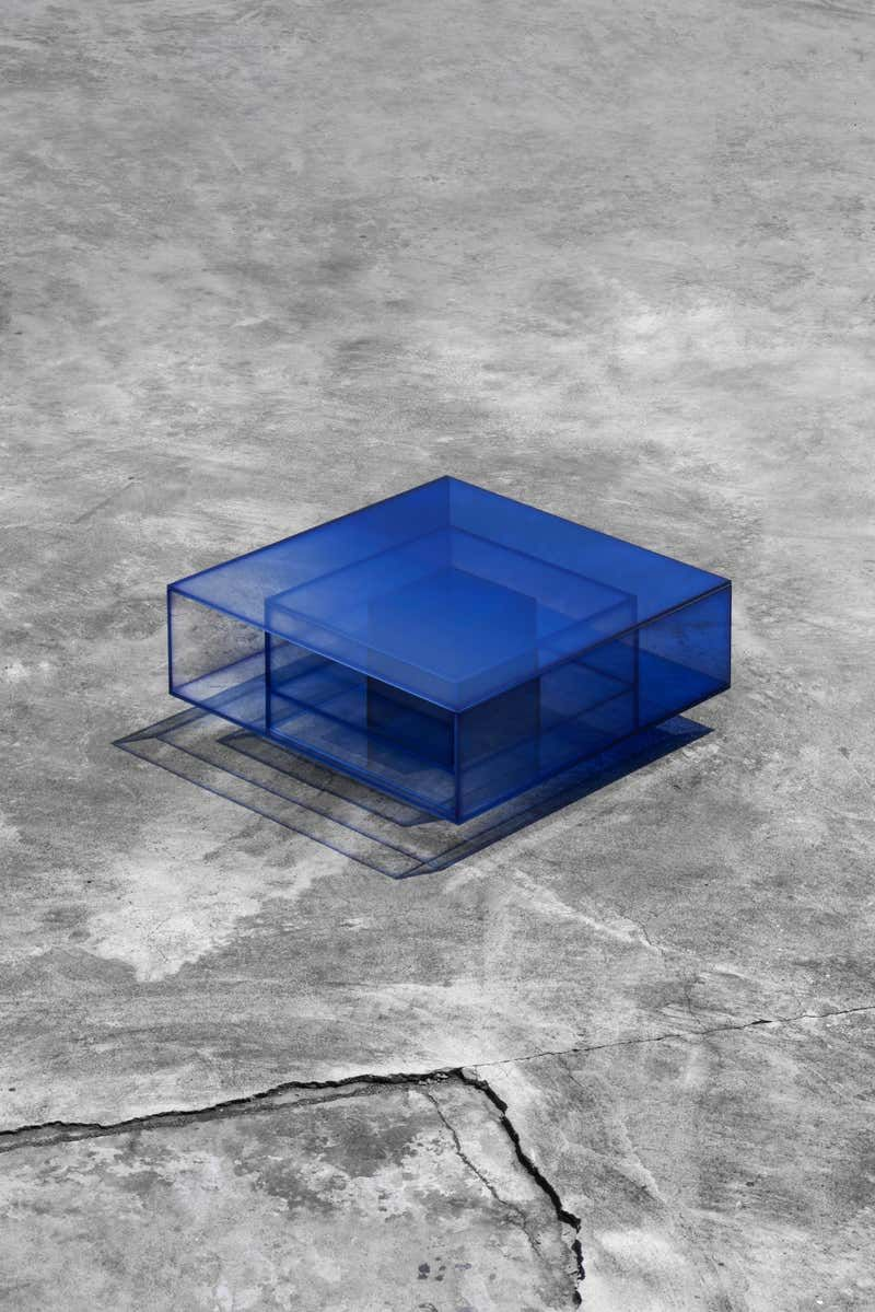Blue Glass Clear Transition Color Coffee Table By Studio Buzao