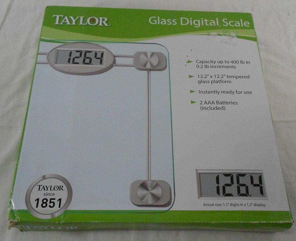taylor glass digital bathroom scale nib 400 lbs capacity model 7527 taylor - Taylor Bathroom Scales