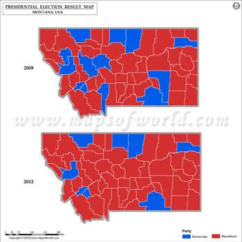 Montana Election Results Map 2008 Vs 2012 US Presidential election