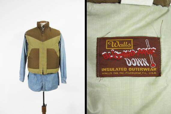 Vintage 70s Walls Blizzard Pruf Down Vest Zip Up Insulated Chevron