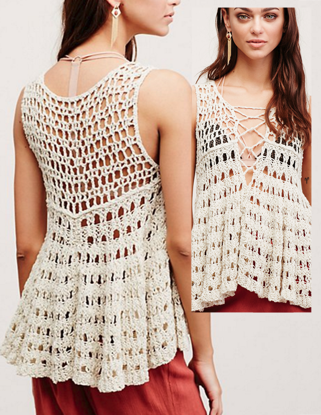Free People | mix of crochet top and knit skirt | Crochet: Top ...