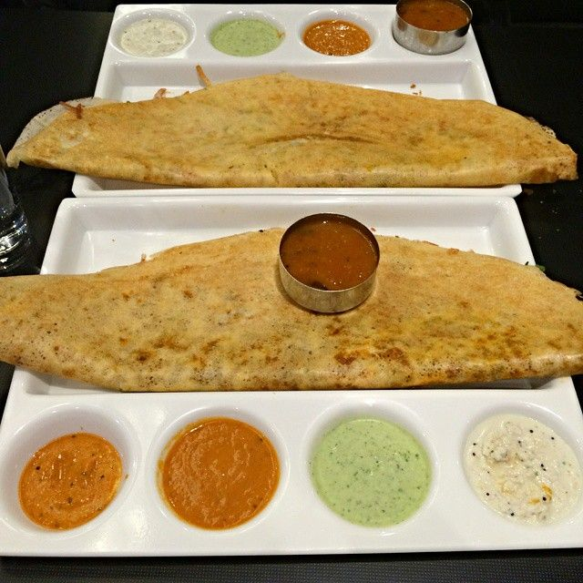 Last night's dosa dinner at Guru Lukshmi. Mushroom cheese dosa and potato cheese masala dosa with fresh sambar and chutneys (tomato, coriander and coconut). On the pricier side for dosa but the food was good enough for another visit. Service was medicore. iStaPix.com