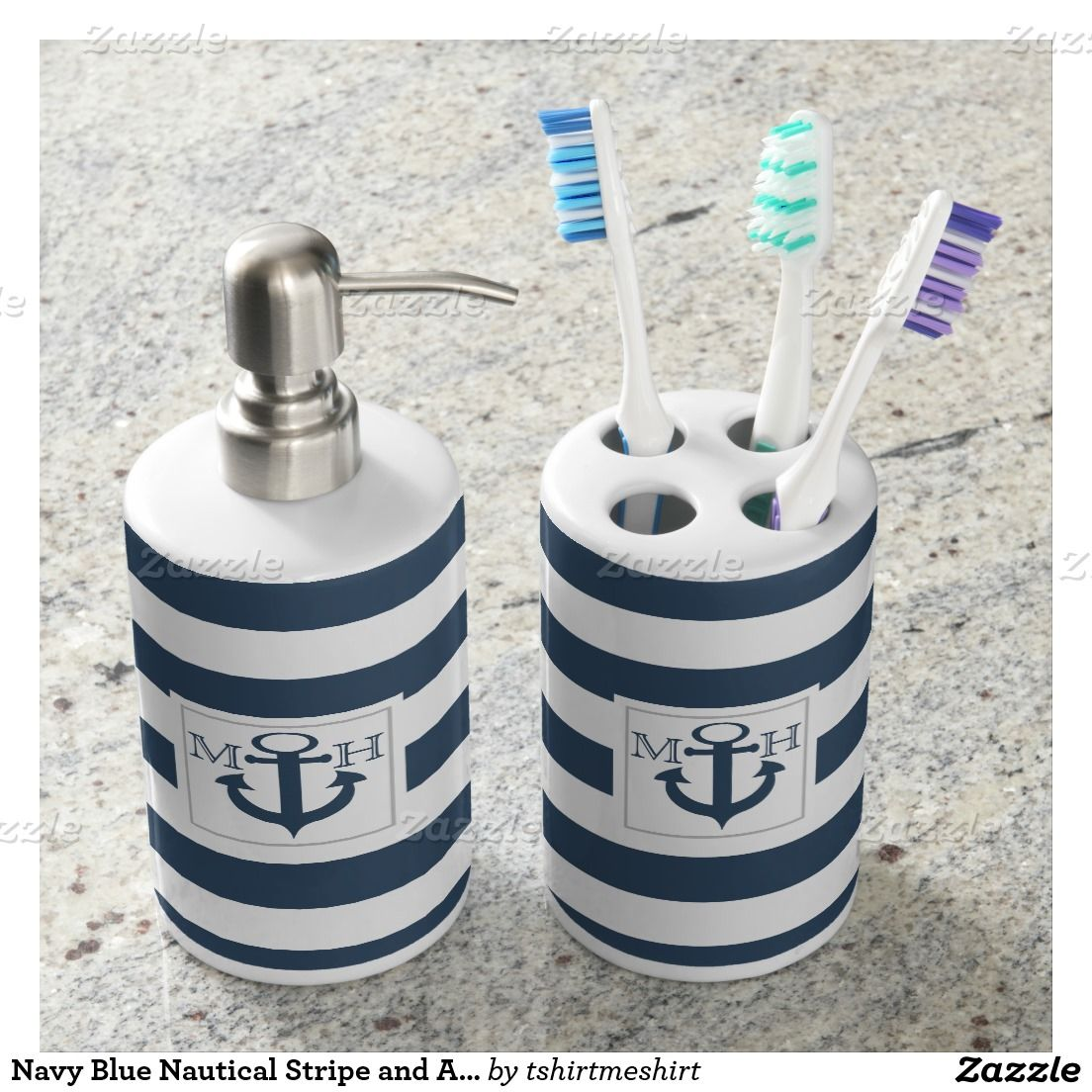 Navy Blue Nautical Stripe and Anchor with Monogram Bath Accessory ...
