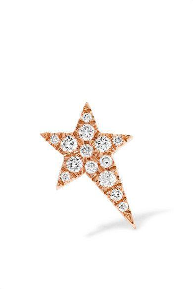 Diane Kordas Star 18-karat Rose Gold, Topaz And Diamond Earring
