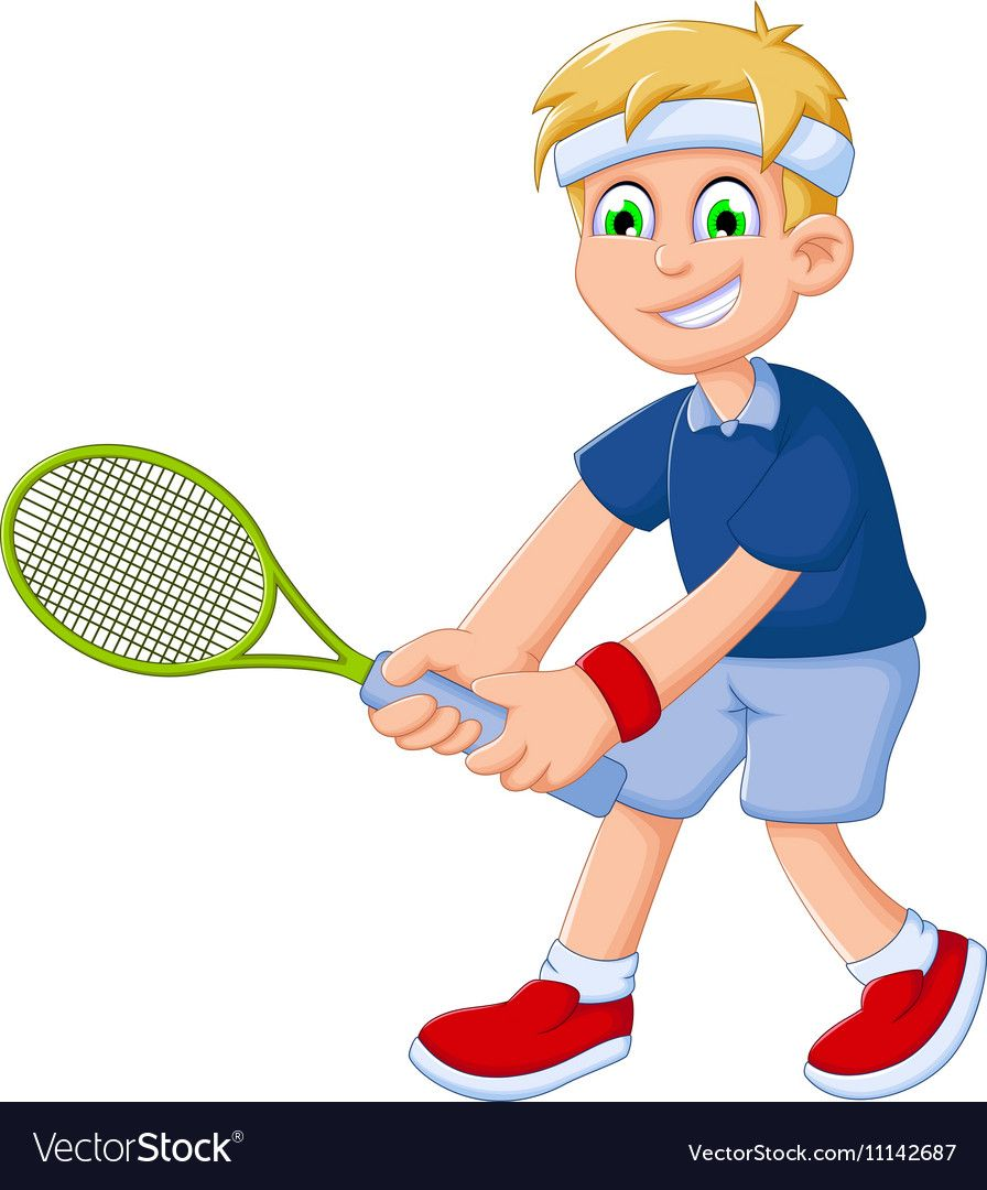 Funny Boy Cartoon Playing Tennis Vector Image On Vectorstock In 2020 Funny Boy Cartoon Funny