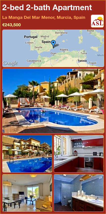 2-bed 2-bath Apartment in La Manga Del Mar Menor, Murcia, Spain ►€243,500 #PropertyForSaleInSpain