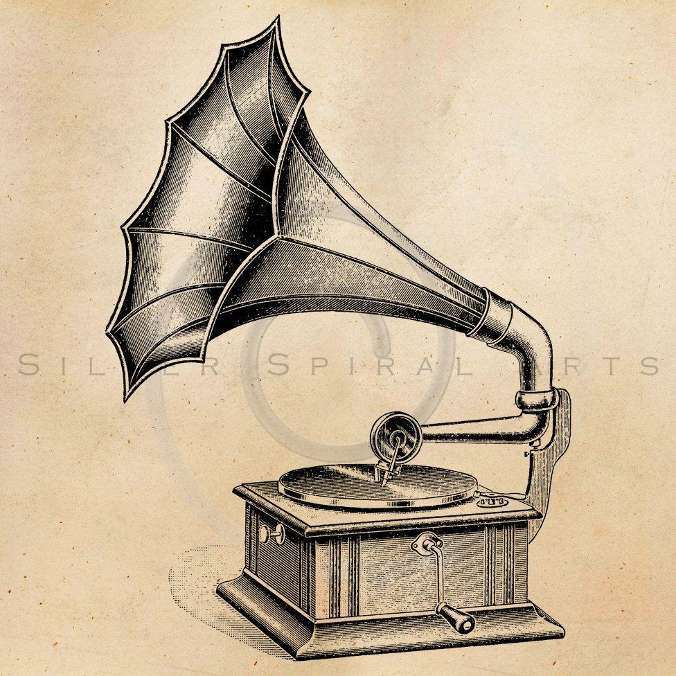 Vintage Record Player Illustration Printable 1900s Antique