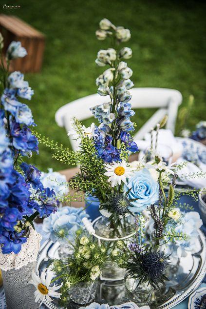 Tischdeko in der Farbe blau  Hochzeit  Dekoration