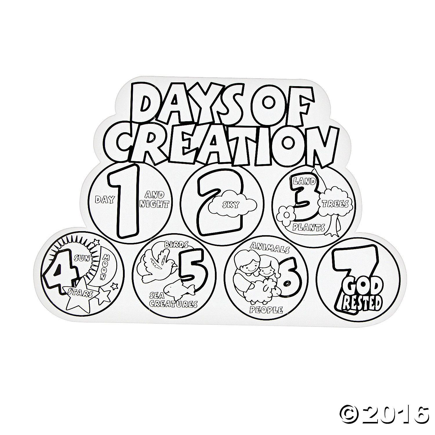 Color Your Own 7 Days Of Creation Displays Coloring