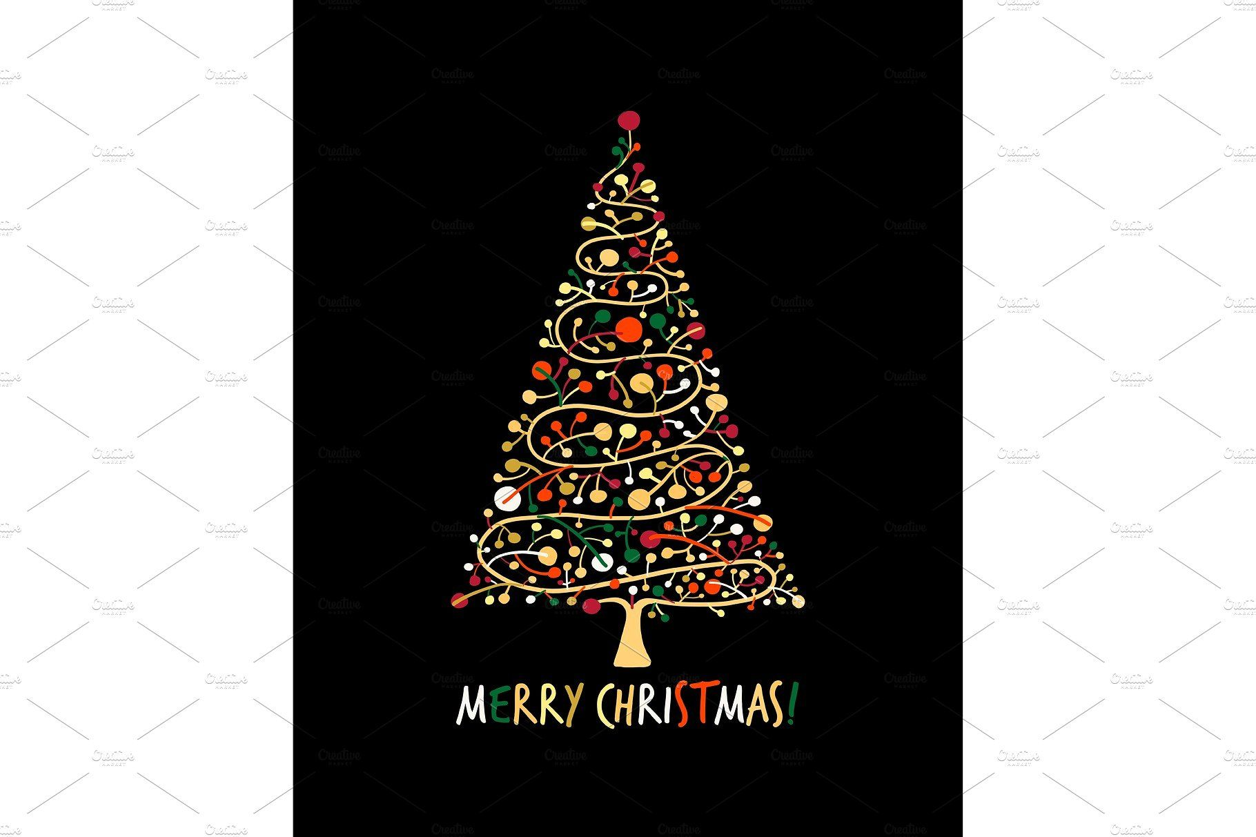 Christmas Tree, Greeting Card For Your Design  Objects