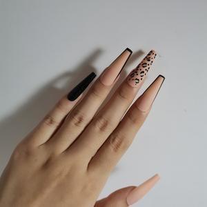 24pcs Matte Tiger Glitter Coffe Fake Nails | Coffi