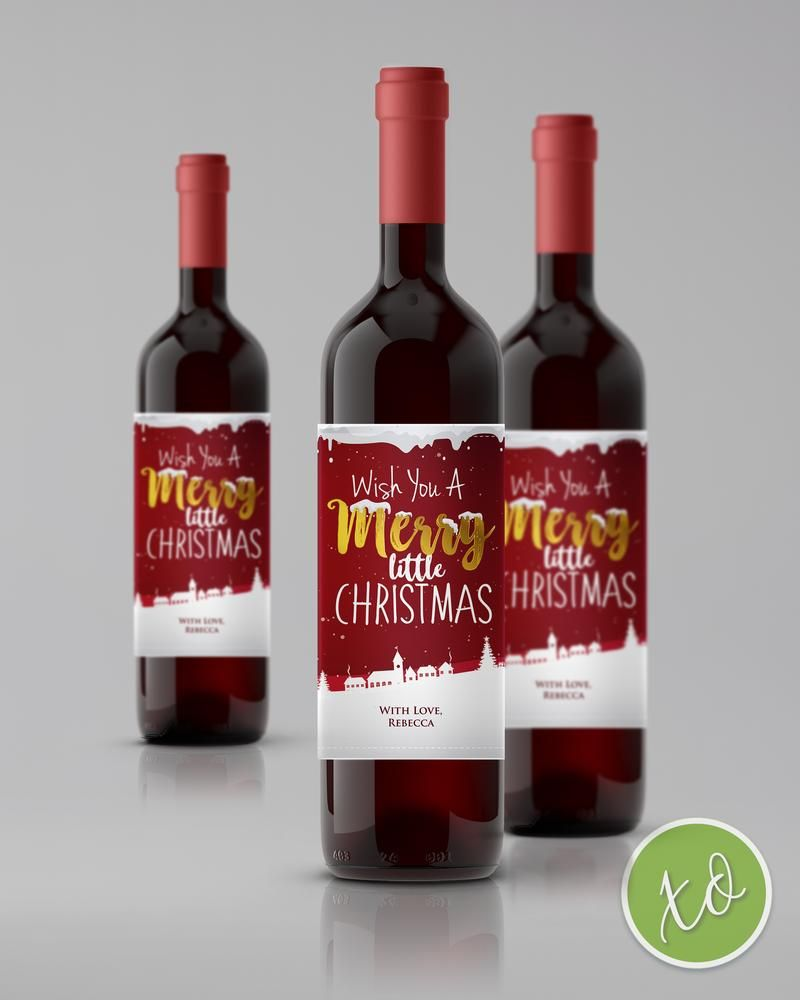 Christmas Wine Labels In Red And Gold Christmas Winelabels Custom Personalized Chri Christmas Wine Label Christmas Wine Personalized Wine Labels Christmas