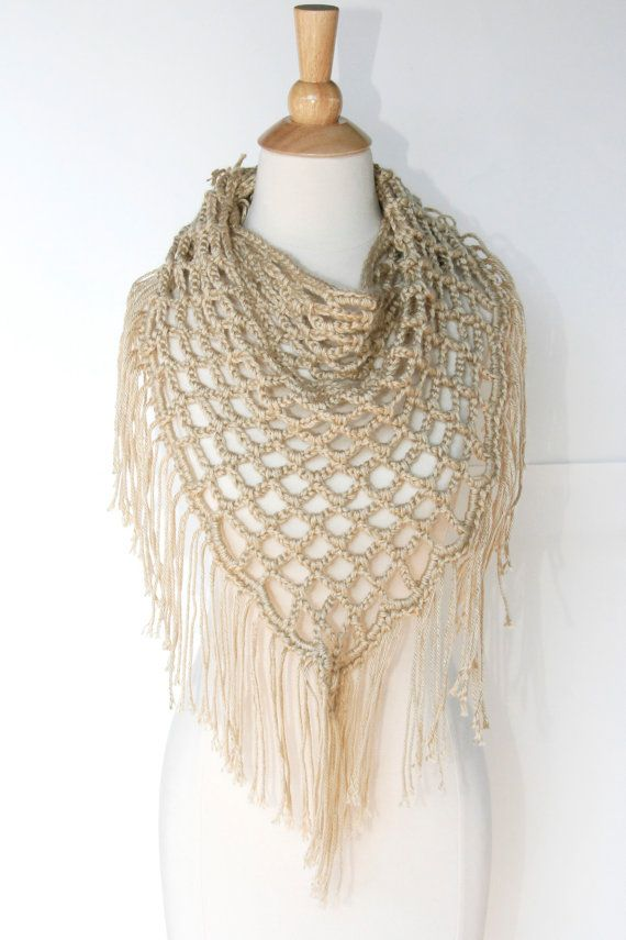 Sale Triangle Crochet Scarf With Fringe Tan By Crochetgallery