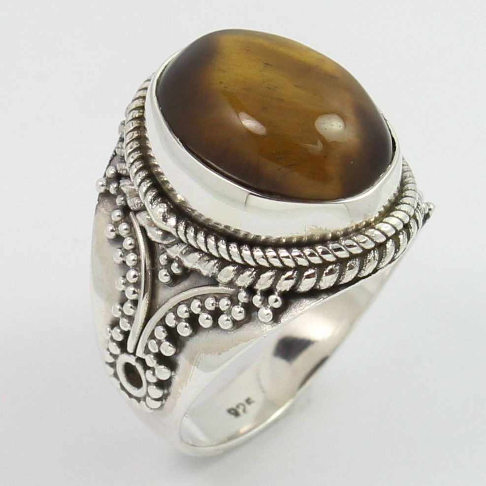 925 Sterling Silver Real TIGER'S EYE Gemstones Ethnic Jewellery Ring Size UK M #SunriseJewellers #Fashion