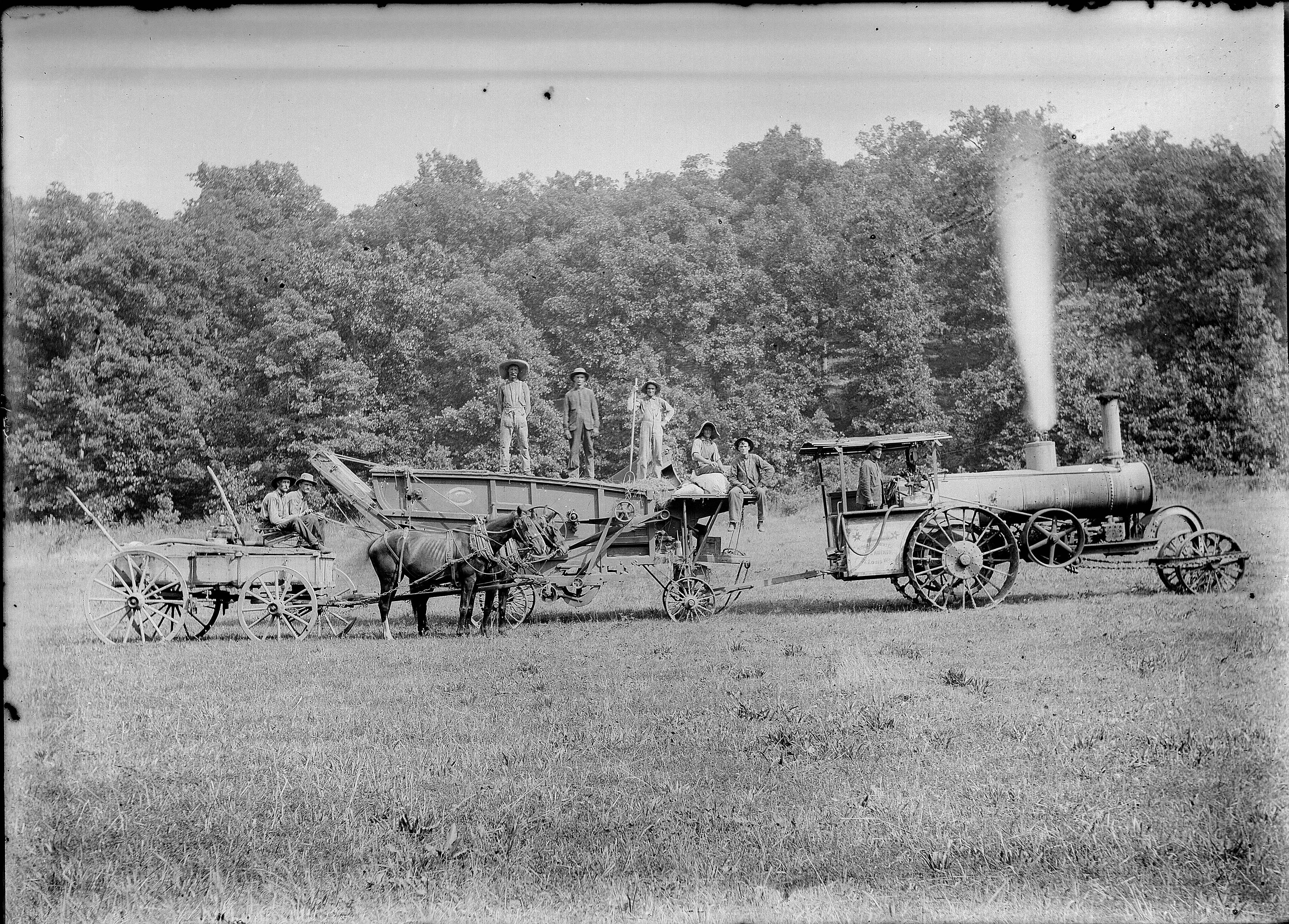 Farm Crew With Steam Tractor Hay Baler And Wagon Photographer Gill Charles Elliott United States Missouri Dent County 1900 1920 Transporte Mulas