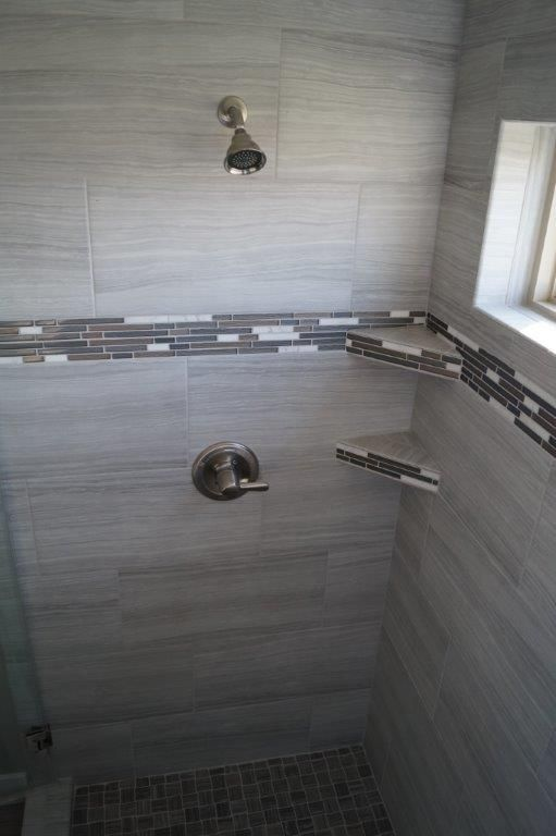 Tile Custom Shower In A 12x24 Tile In A Light Gray And