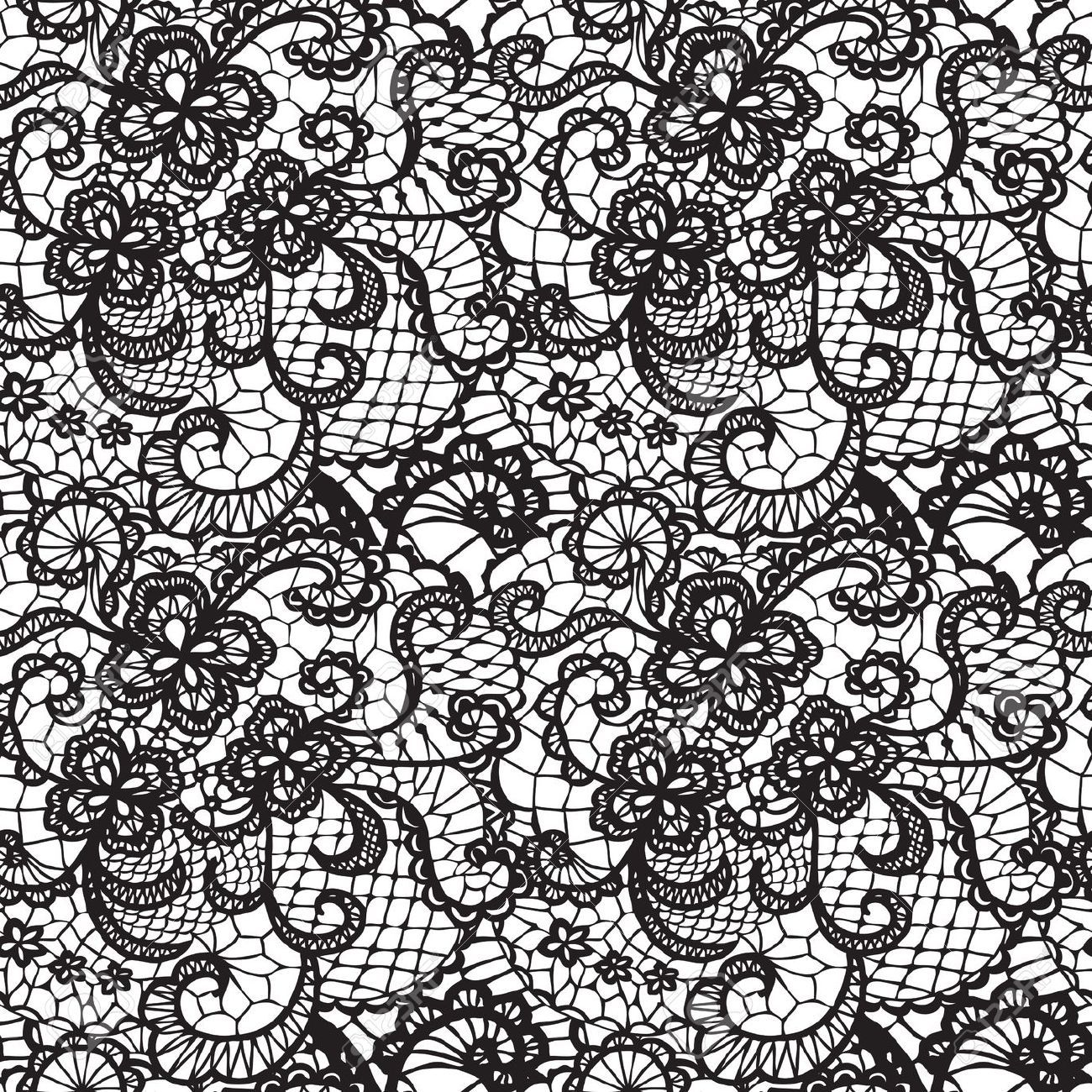 Lace Black Seamless Pattern With Flowers On White ...