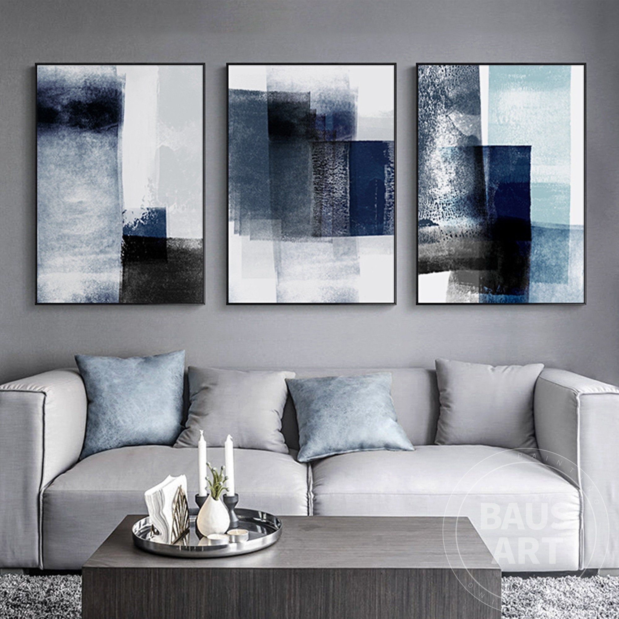 Abstract Painting Print Framed Wall Art Set Of 3 Prints Etsy Abstract Wall Art Living Room Living Room Canvas Blue Wall Art