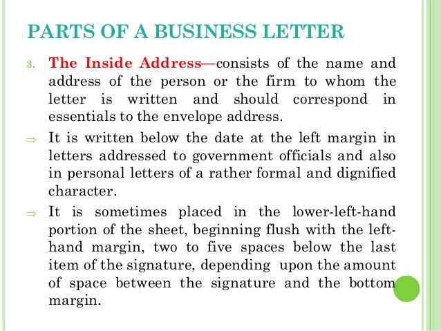 Business Letters Inside Address Letter Part Pusiness  Home Design