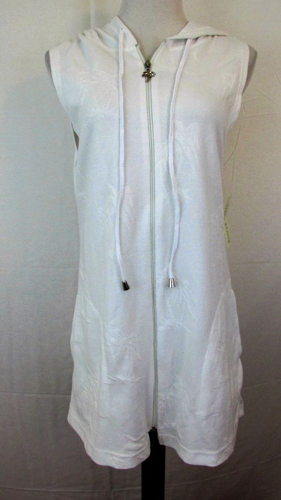 8374ada4c68 NWT Ellen Weaver Small White Swimsuit Coverup Full Zip Hooded Pockets Palm  Trees