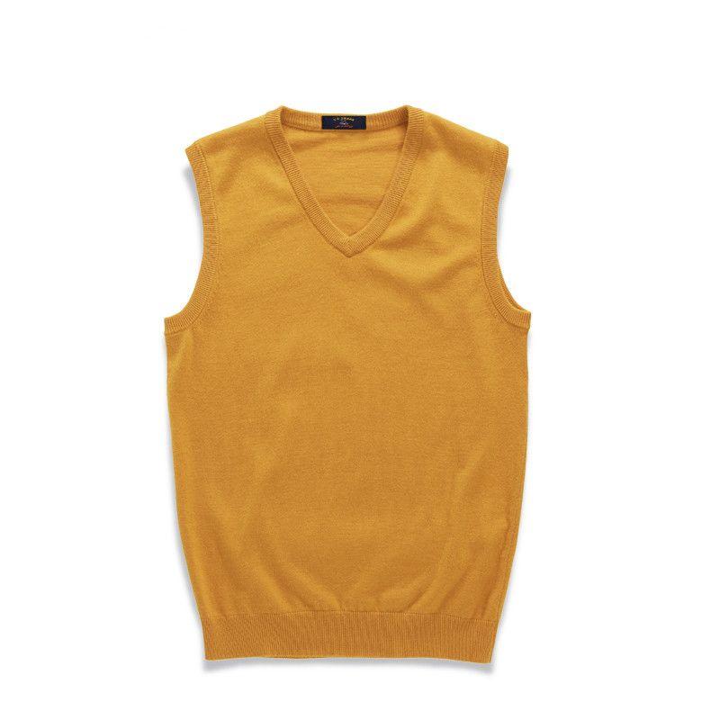 V-Neck Sweater Vest Men Pure Color Knit Solid Business Fashion ...