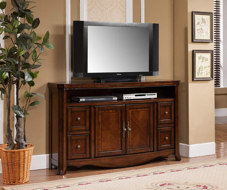 60 Ash Burl Finish Tv Stand At Big Lots Kitchen Get This