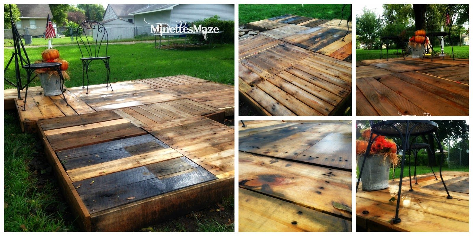 Minettesmaze diy pallet deck use these plans with the for Outdoor wood projects ideas