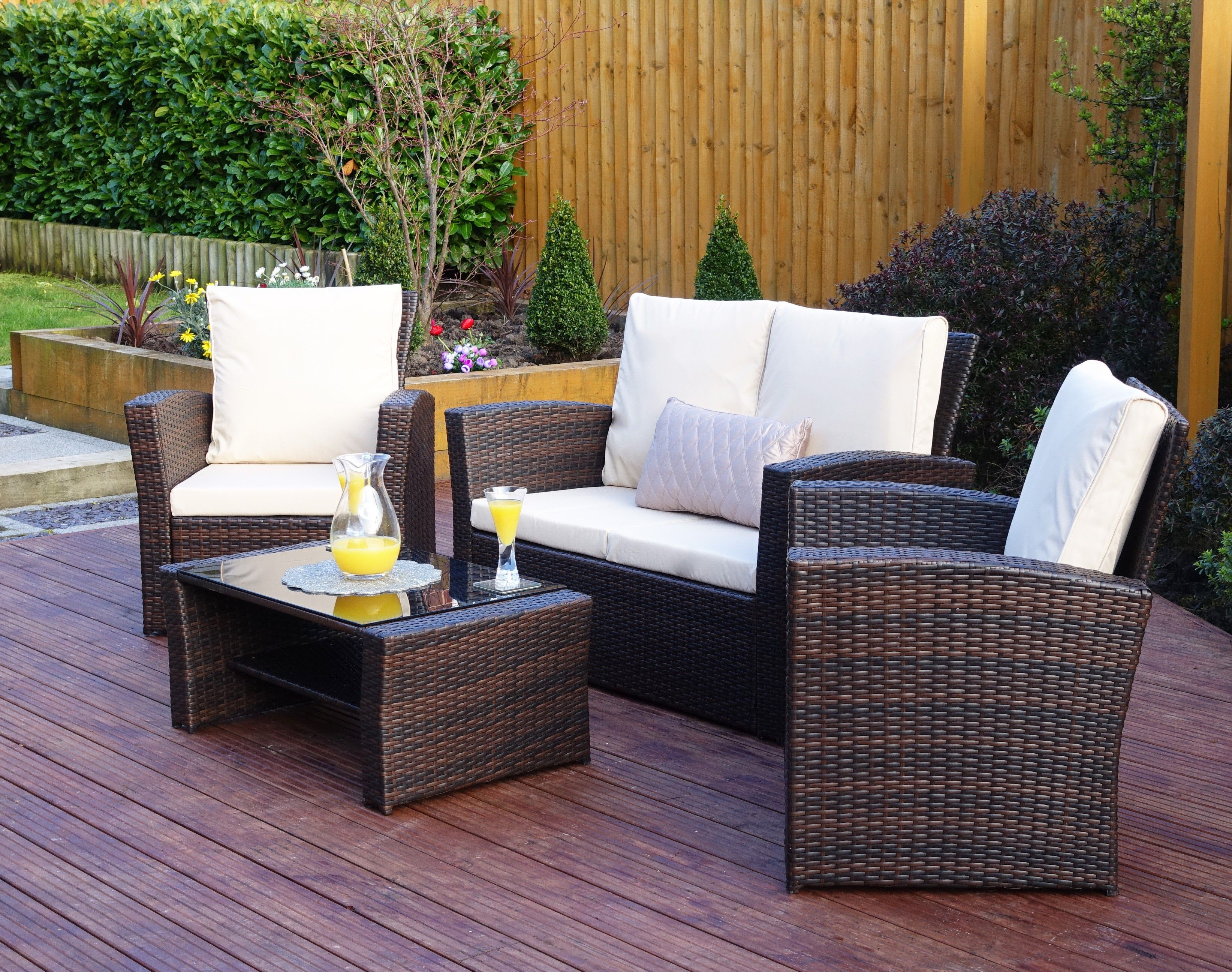 Oxford 4 Piece Brown Rattan Effect Sofa Set Armless Sofas And Chairs Algarve Terrazas Pinterest Garden