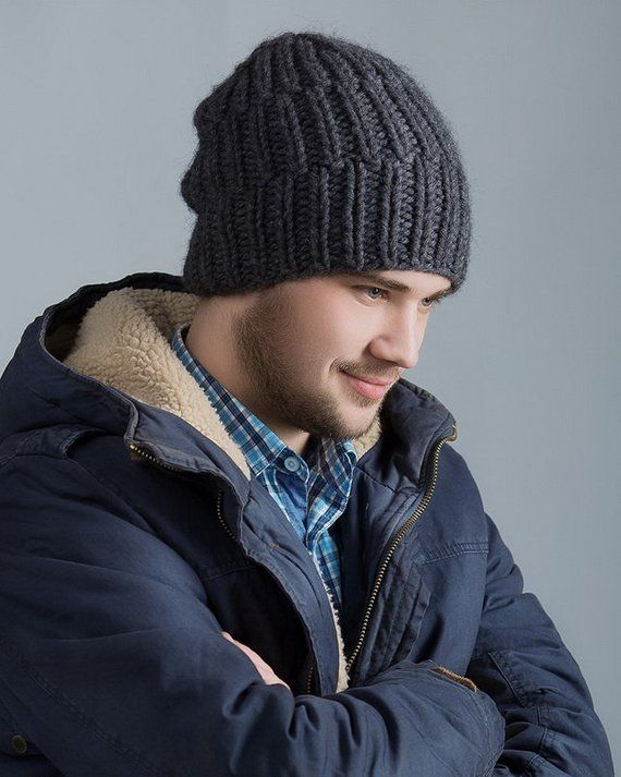 Men s hat slouchy beanie handmade knitted from Italian mix of alpaca and  sheep wool gift for men boy 8c7b2c8baac