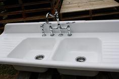 1940 Cast Iron Farmhouse Sink, (66 X 24) Double Basin & Double Drain