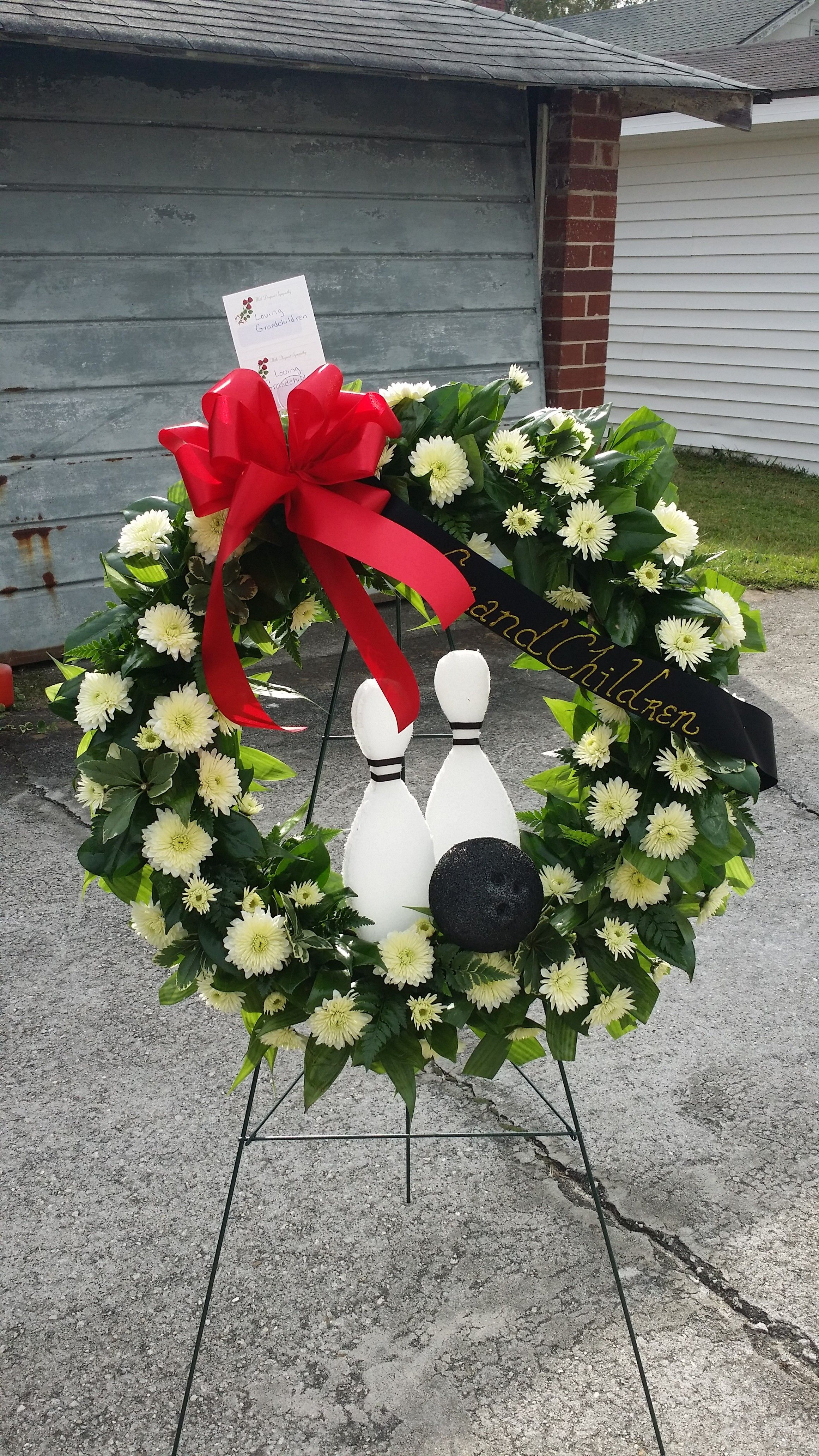 Send the bowling pin wreath bouquet of flowers from annies floral send the bowling pin wreath bouquet of flowers from annies floral boutique in augusta ga izmirmasajfo Image collections