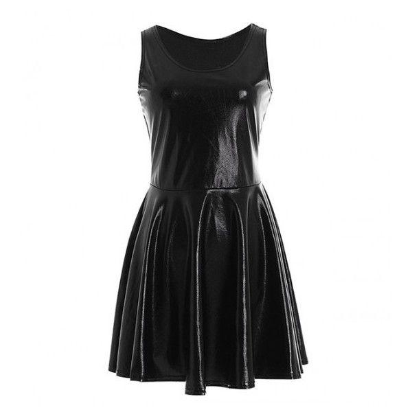Wet Look Reversible Skater Dress ($14) ❤ liked on Polyvore featuring dresses, black dress, skater dress, black skater dress, shiny dress and reverse dress