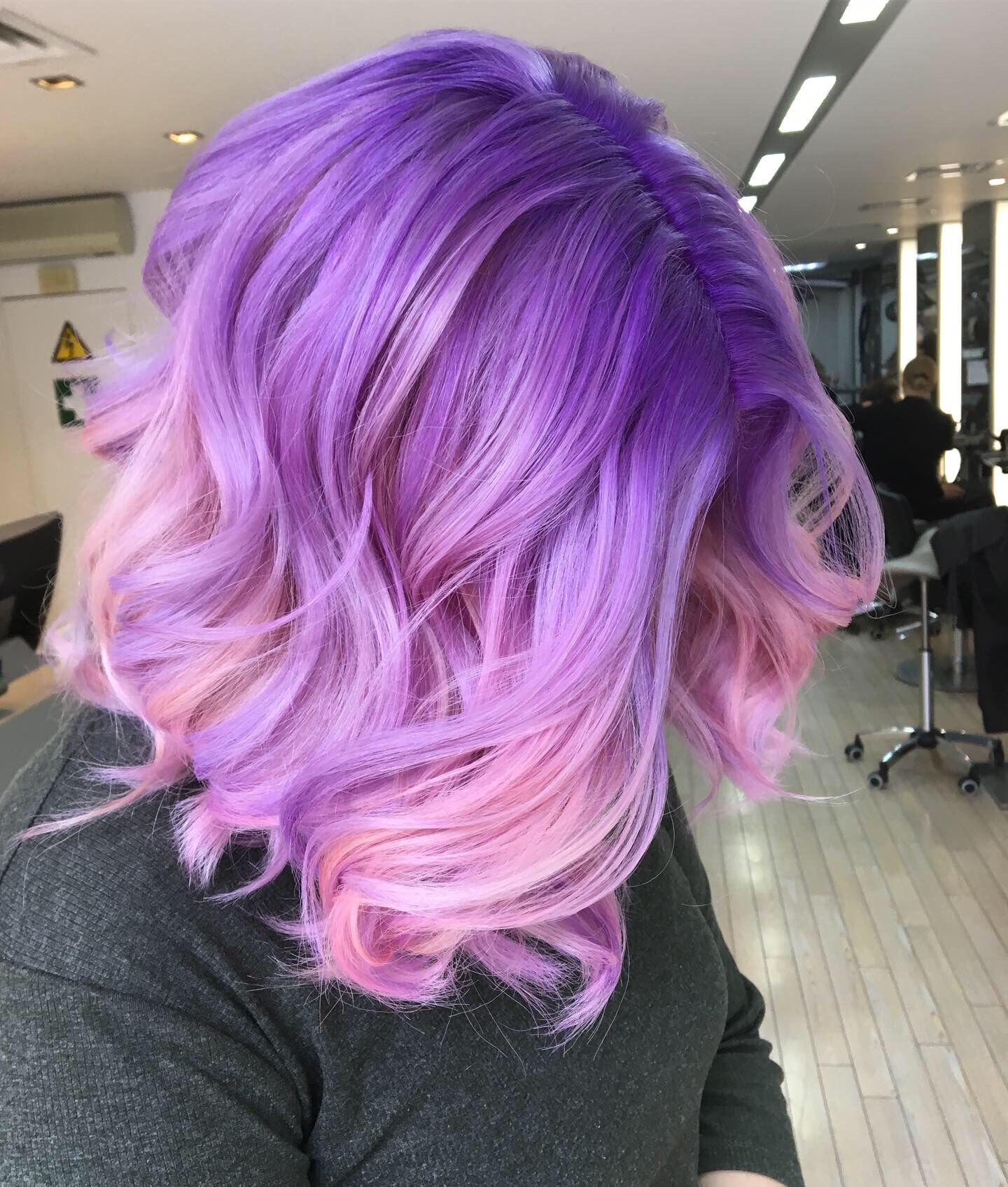 Purple Ombre Hair Beauty Fantasy Unicorn Purple Violet Red Cherry Pink Yellow Bright Hair Colour Color Hair Color Pastel Purple Ombre Hair Mermaid Hair Color