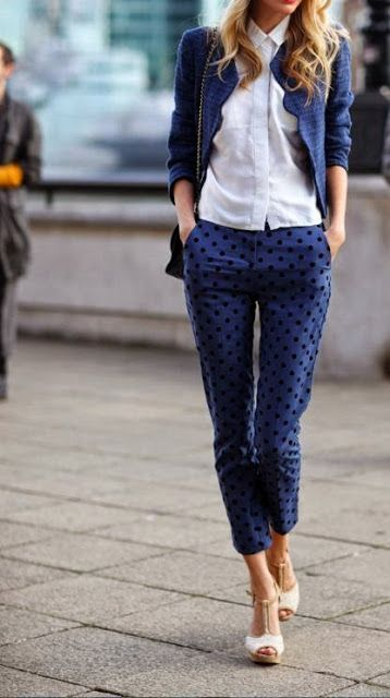 Street styles | Blazer, white shirt with polka dots pants