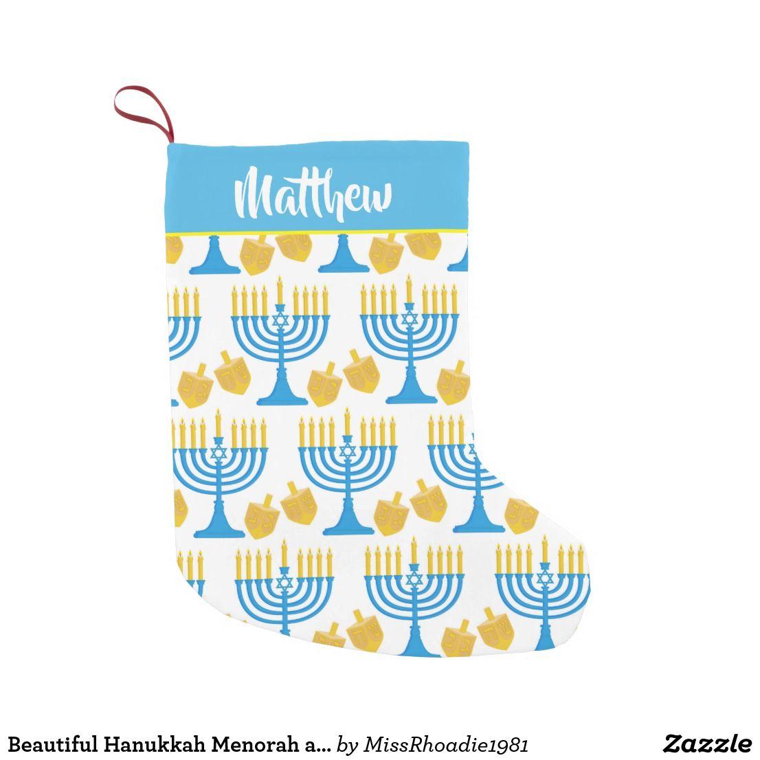 Hanukkah Christmas Stocking.Beautiful Hanukkah Menorah And Dreidel Customize Small