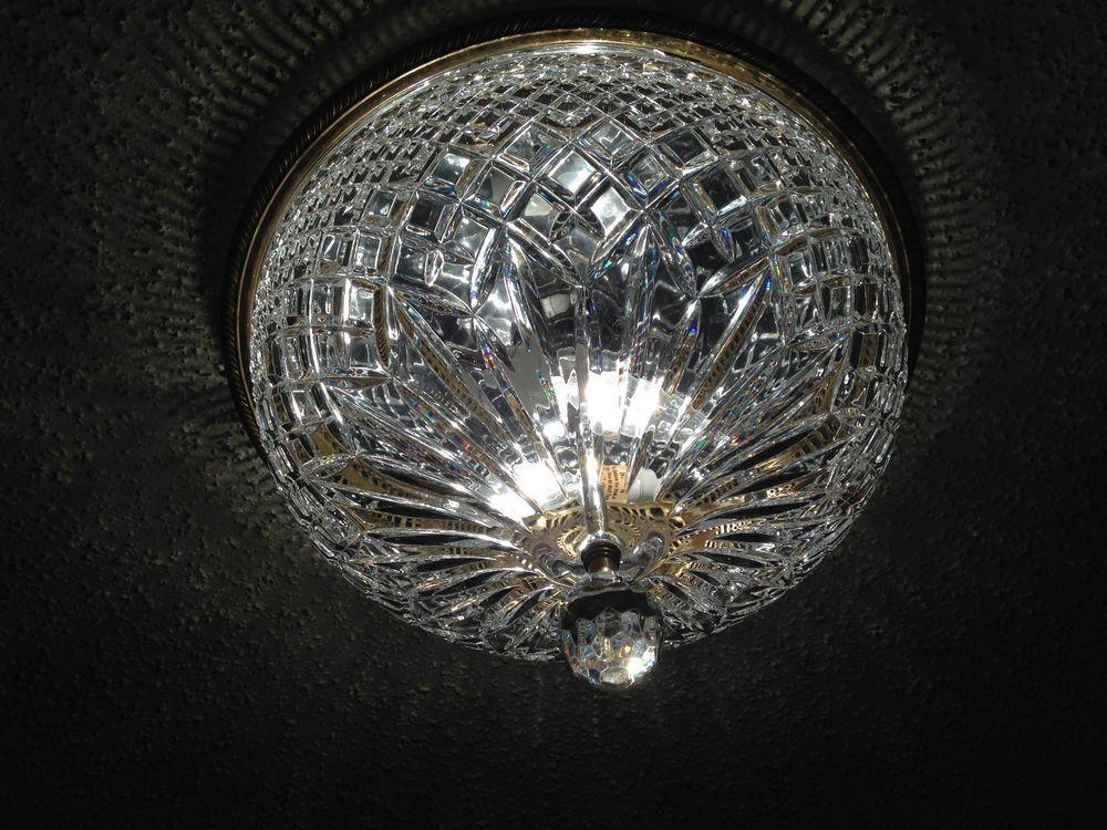 Vintage Waterford Crystal Flush Mount 13 Ceiling Light Fixture Ebay Waterford Crystal Ceiling Lights Light Fixtures