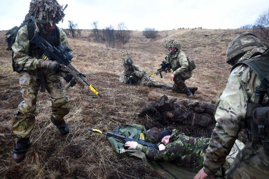 Scottish Army Reservists training at Garelochead to test their field craft and offensive operations during Exercise Strike Op. March 11, 2015. The purpose of the Exercise was to build team cohesion and prepare for battle attacks.